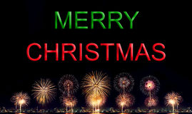 Glad jul med det höga upplösningsfyrverkerit Arkivfoto