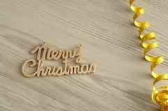 Glad jul med ett guld- band Arkivbilder