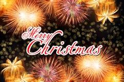 Glad jul med färgrika fyrverkerier royaltyfri foto