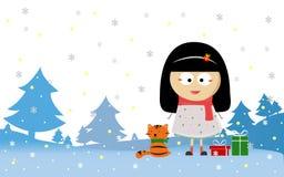 Glad jul med flickan och katten stock illustrationer