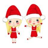 Glad jul med gulliga Santa Girl Jumping Pompomhatt och dräkt Santa Claus Costume Härlig vektor för ung kvinna Royaltyfria Foton
