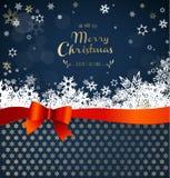 Glad jul med många snöflingor med mörker - blå bakgrund royaltyfri illustrationer