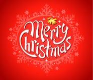 Glad jul med snöflingor på rött Fotografering för Bildbyråer