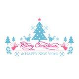 Glad jul med symboler dekorerar Royaltyfria Bilder