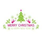 Glad jul med symboler dekorerar Stock Illustrationer
