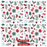 Glad jul & modell för lyckligt nytt år Vektor Illustrationer