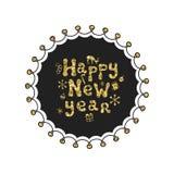 Glad jul, nytt år Guld- uttryck för kalligrafi Handskrivet blänka att märka för säsonger Xmas-uttryck tecknad hand Fotografering för Bildbyråer
