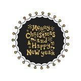 Glad jul, nytt år Guld- uttryck för kalligrafi Handskrivet blänka att märka för säsonger Xmas-uttryck tecknad hand Royaltyfria Bilder