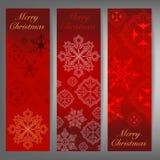 Glad jul och baner för vintertemarengöringsduk Royaltyfri Foto