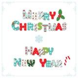 Glad jul och bokstäver för lyckligt nytt år stock illustrationer