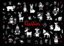 Glad jul och den drog handen för lyckligt nytt år gulliga roliga klottrar djurkontursamlingen stock illustrationer