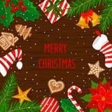 Glad jul och det lyckliga nya året övervintrar bakgrund för hälsningkortet med xmas-garneringbeståndsdelar stock illustrationer