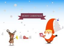 Glad jul och det lyckliga nya året övervintrar platsjultomten och kortet för rengåvahälsning vektor illustrationer