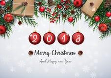 Glad jul och det lyckliga nya året 2018 med röd jul klumpa ihop sig, och gran förgrena sig royaltyfri illustrationer