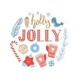 Glad jul och det lyckliga nya året räcker det utdragna hälsningkortet royaltyfri illustrationer