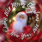 Glad jul och det lyckliga nya året smsar på suddig bakgrund med Santa Claus Royaltyfri Bild