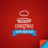 Glad jul och ett hälsningkort för lyckligt nytt år Arkivbilder