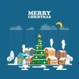 Glad jul och ett hälsningkort för lyckligt nytt år i modern plan design Snöig landskap på blå bakgrund Royaltyfri Fotografi