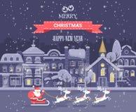 Glad jul och ett lyckligt nytt år! För vektorhälsning för glad jul och för lyckligt nytt år kort i plan stil Royaltyfri Fotografi