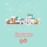 Glad jul och för vektorhälsning för lyckligt nytt år ett kort i modern plan design Julstad Arkivbild