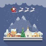 Glad jul och för vektorhälsning för lyckligt nytt år ett kort i modern plan design Julstad claus renar santa Fotografering för Bildbyråer
