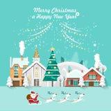 Glad jul och för vektorhälsning för lyckligt nytt år ett kort i modern plan design Snöig landskap med jultomten och renar Arkivfoton