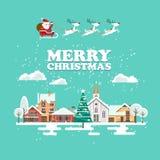 Glad jul och för vektorhälsning för lyckligt nytt år ett kort i modern plan design Snöig landskap med Santa Claus och renar Royaltyfri Bild
