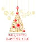 Glad jul och för vektorhälsning för lyckligt nytt år kort Stock Illustrationer