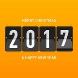 Glad jul och hälsningkort 2017 för lyckligt nytt år Arkivbild