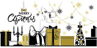 Glad jul och kort för lyckligt nytt år vektor illustrationer