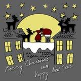 Glad jul och kort för lyckligt nytt år Bakgrund för nytt år för vektor med Santa Claus, deers, gåvor och den stora månen royaltyfri illustrationer