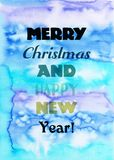 Glad jul och kort för lyckligt nytt år Idérik textur för design Vibrerande hand målad vattenfärgbakgrund Handgjord samkopiering royaltyfri fotografi