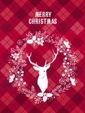 Glad jul och kort för lyckligt nytt år med en hjort Fotografering för Bildbyråer