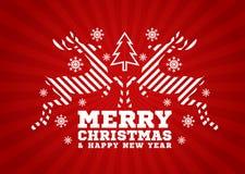 Glad jul och kort för lyckligt nytt år - renen hoppar bandet och julgranen och snöar på röd bakgrundsvektordesign royaltyfri illustrationer