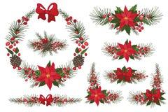 Glad jul och krans för nytt år, grupp stock illustrationer