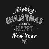 Glad jul och lycklig bokstäver för nytt år Arkivbilder