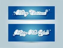 Glad jul och lycklig bokstäver för nytt år Arkivbild