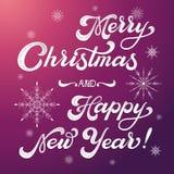 Glad jul och lycklig bokstäver för nytt år Elegant handskriven kalligrafi Royaltyfria Foton