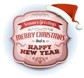Glad jul och lyckliga nya år emblem royaltyfri illustrationer