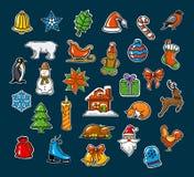 Glad jul och lyckliga nya året som var säsongsbetonade, klistermärkear för vinterxmas-garnering, ställde in Arkivbilder