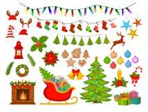Glad jul och lyckliga nya året som var säsongsbetonade, objekt för vinterxmas-garnering, ställde in Arkivbild