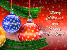 Glad jul och lyckligt hälsningskort för nytt år Royaltyfria Foton