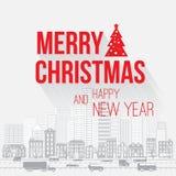 Glad jul och lyckligt hälsningskort för nytt år Arkivfoton
