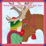 Glad jul och lyckligt nytt år stock illustrationer