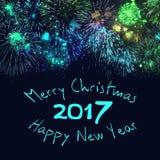 Glad jul och lyckligt nytt år 2017 Arkivbild
