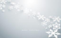 Glad jul och lyckligt nytt år Abstrakta snöflingor i vit bakgrund Royaltyfri Fotografi