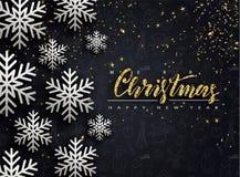 Glad jul och lyckligt nytt år Bakgrund med snöflingor och slingrande också vektor för coreldrawillustration stock illustrationer