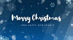Glad jul och lyckligt nytt år Bakgrund med Snowflakes också vektor för coreldrawillustration vektor illustrationer
