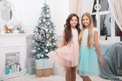 Glad jul och lyckligt nytt år Barnet tycker om ferien Julgran och presents lyckligt nytt år Vinter xmas fotografering för bildbyråer