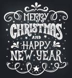 Glad jul och lyckligt nytt år Calligraphic design för begreppsmässig handskriven skjorta för uttryck T, hälsningkort, affisch ell Royaltyfri Foto